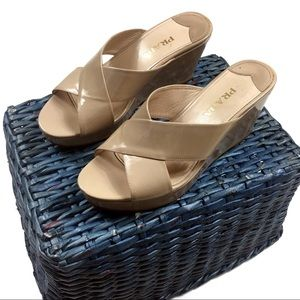 Prada Crossfront Nude Wedge Leather Sandals
